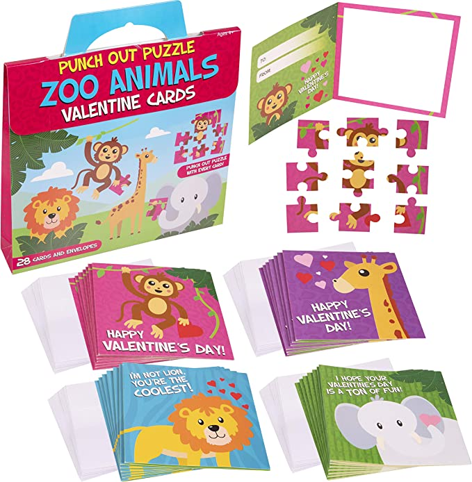Valentine's Cards For Kids | Zoo Animal Punch Out Puzzle Valentines Cards For Kids | Classroom Valentine Cards Fun For Boys & Girls