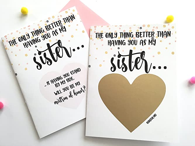 amazon com matron of honor proposal scratch off card for sister