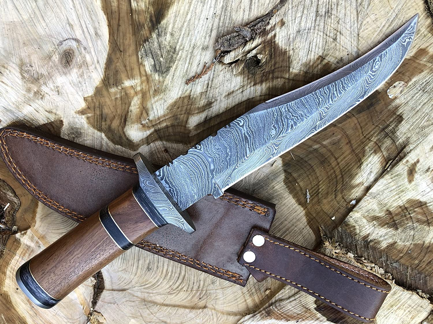 Perkin Knives – Handmade Damascus Hunting Knife with Sheath