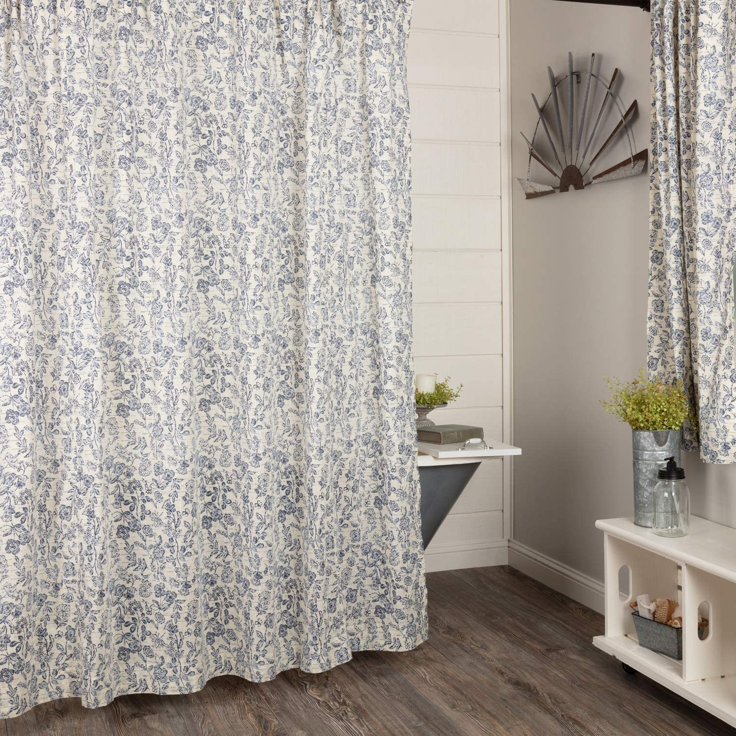 Piper Classics Doylestown Blue Floral Shower Curtain, 72