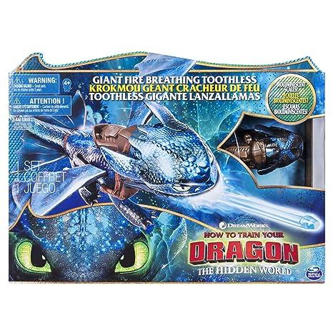 Dragons - Movie Line - 6045436 - Fire Breathing Toothless (Ohnezahn) - Actionfigur mit Drachnatem, Drachenzähmen leicht gemac