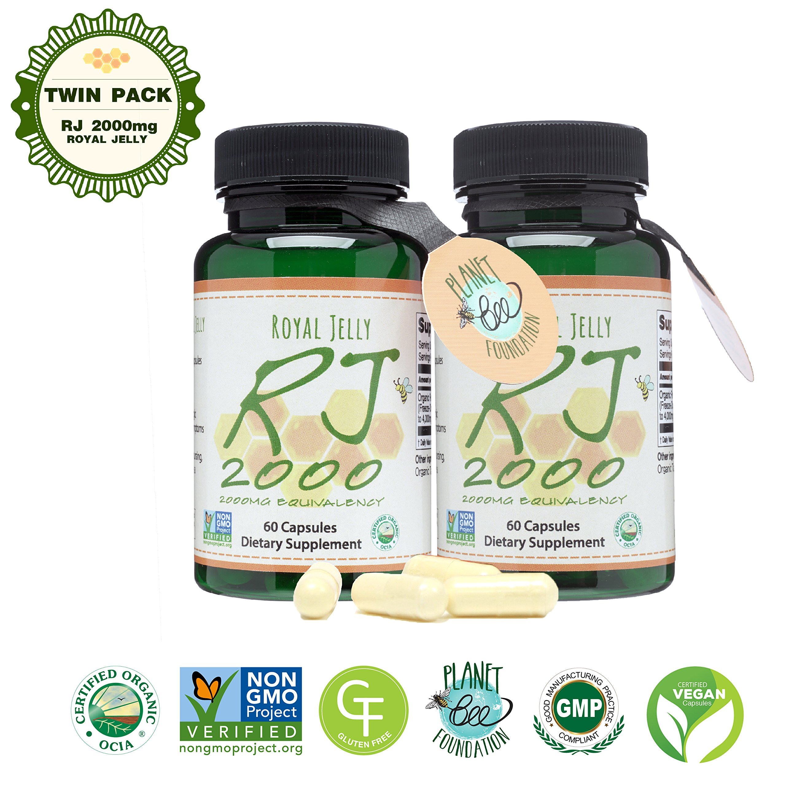 GREENBOW Royal Jelly 2000mg Equivalency – Non GMO Made with Organic Royal Jelly - One of the Most Nutrition Packed Diet Supplements – Certified Vegan Capsules (Twin Pack_2-60 Capsules) by Greenbow