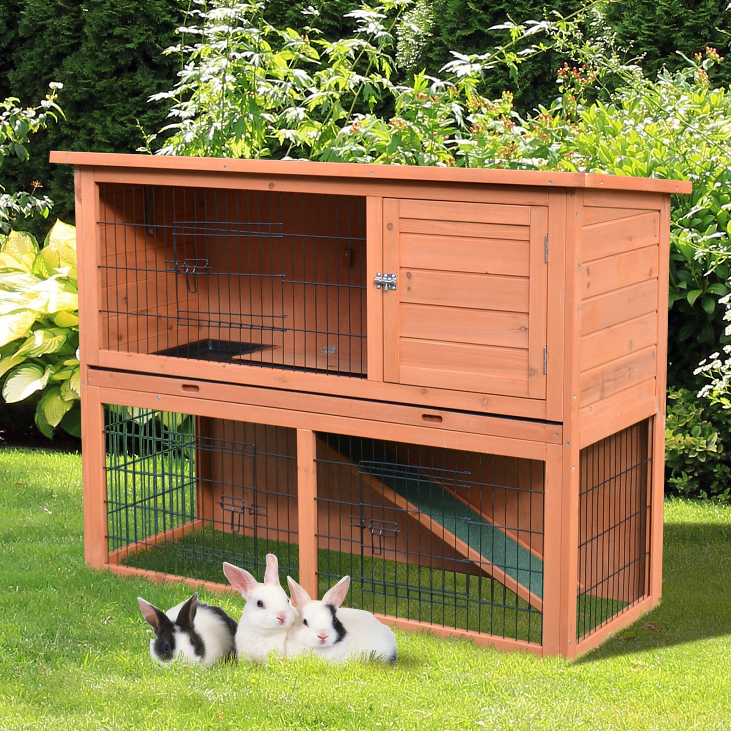 PawHut 48'' Multi Level Compact Wooden Playpen Outdoor Rabbit Small Animal Pet Cage With Enclosed Run by PawHut (Image #2)