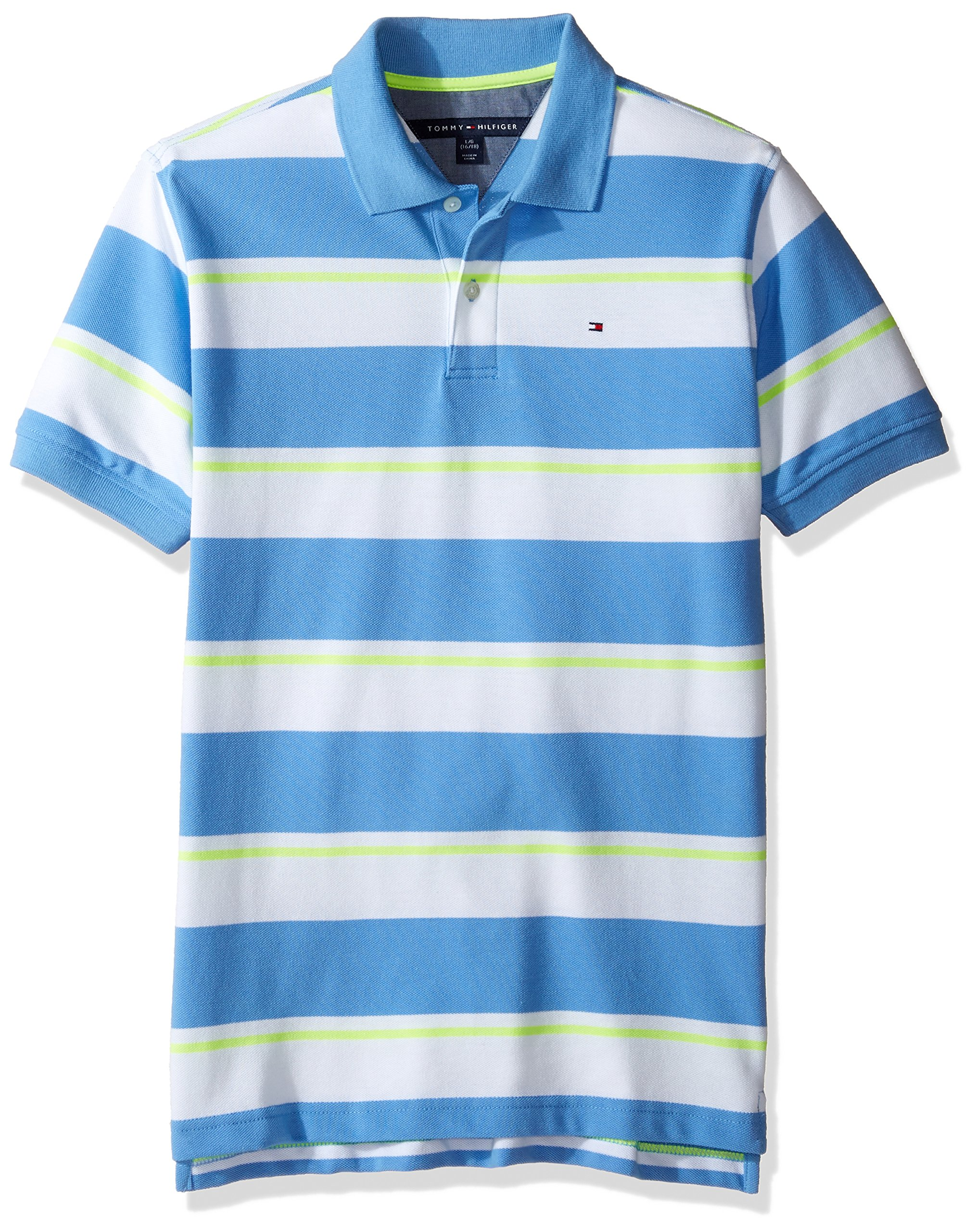 Tommy Hilfiger Boys' Little Short Sleeve Striped Polo Shirt, Summer Blue, Large/6