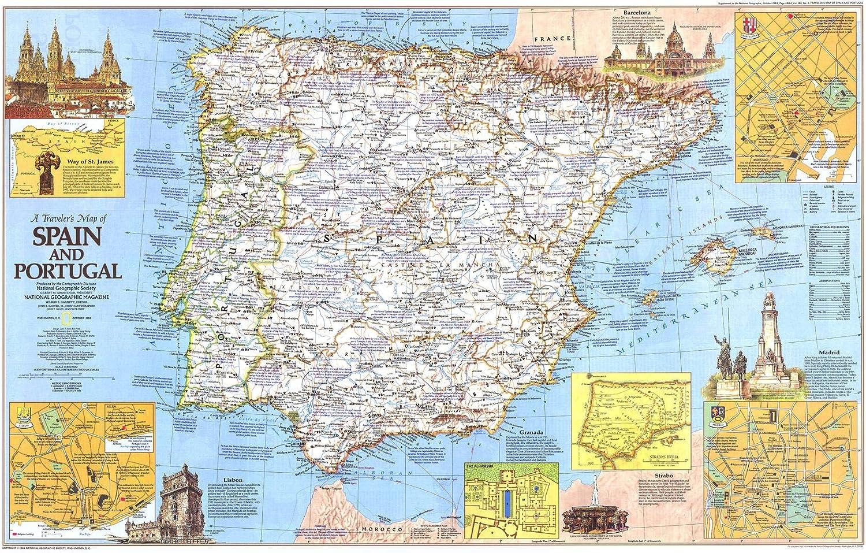 National Geographic: Mapa de Viajeros de España y Portugal 1984 - Serie de mapas históricos de pared - 36 x 22.75 pulgadas - Papel enrollado: Amazon.es: Oficina y papelería