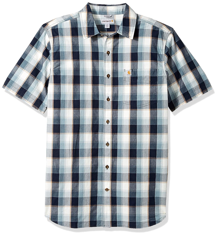 Carhartt Mens Big-Tall Big & Tall Essential Plaid Open Collar Short Sleeve Shirt 103004BT