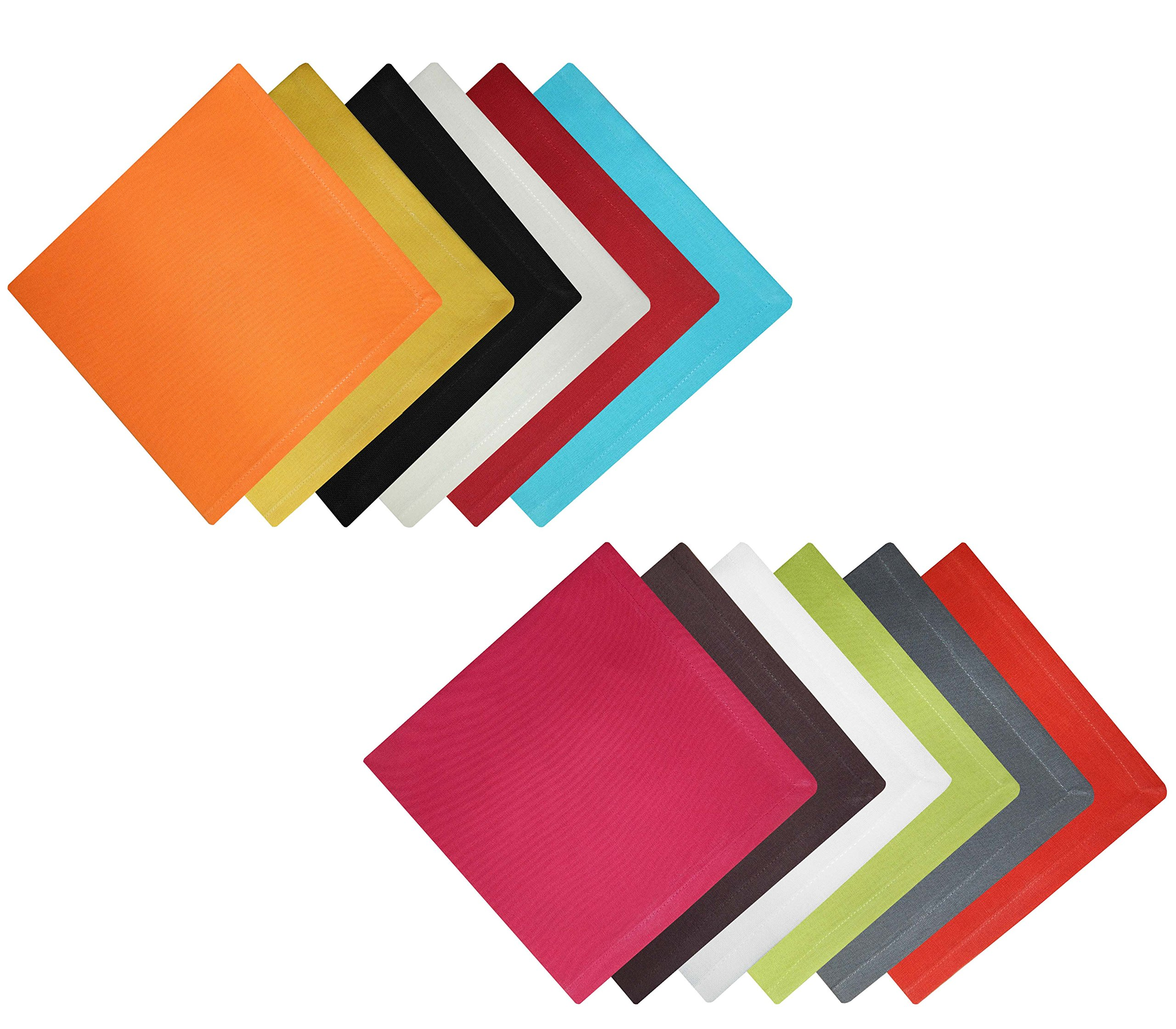 Tiny Break Cloth Napkins 17 x 17 inch -100% Cotton - Soft Comfortable - Ideal Events Regular Home Use - Multicolor -12 Pack