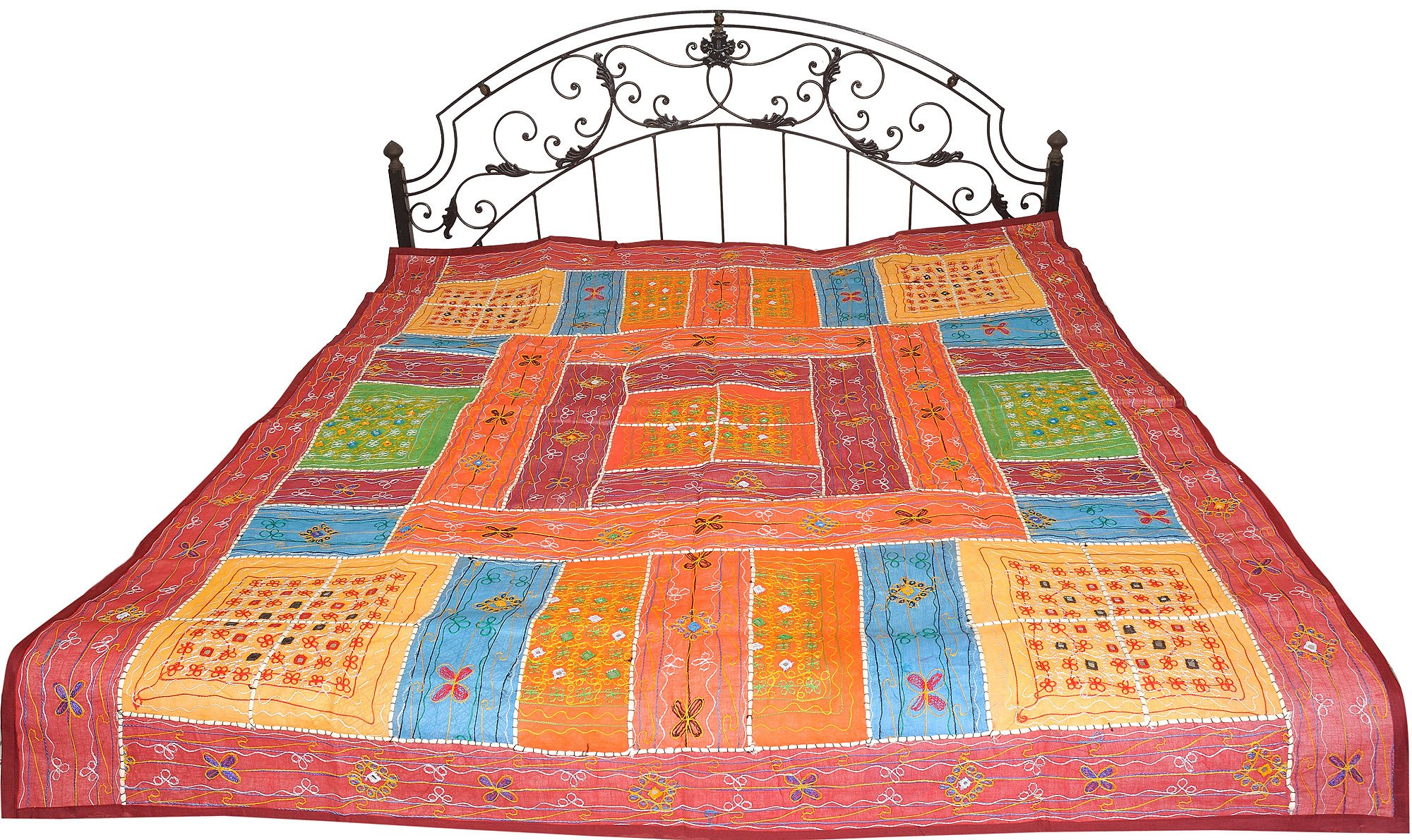Multicolor Bedspread from Kutch with Embroidered Mirrors and Patchwork - Pure Cotton
