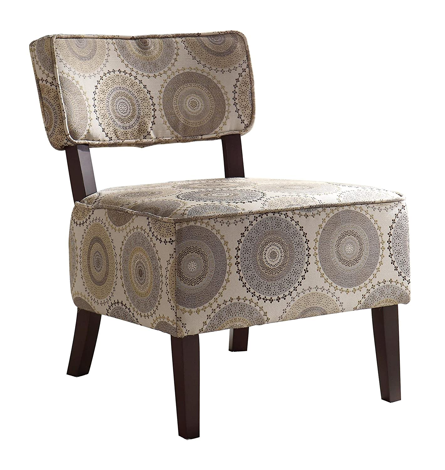 Armless occasional chair - Amazon Com Homelegance 1191f6s Armless Accent Chair Beige With Grey Brown Medallions Print Fabric Kitchen Dining