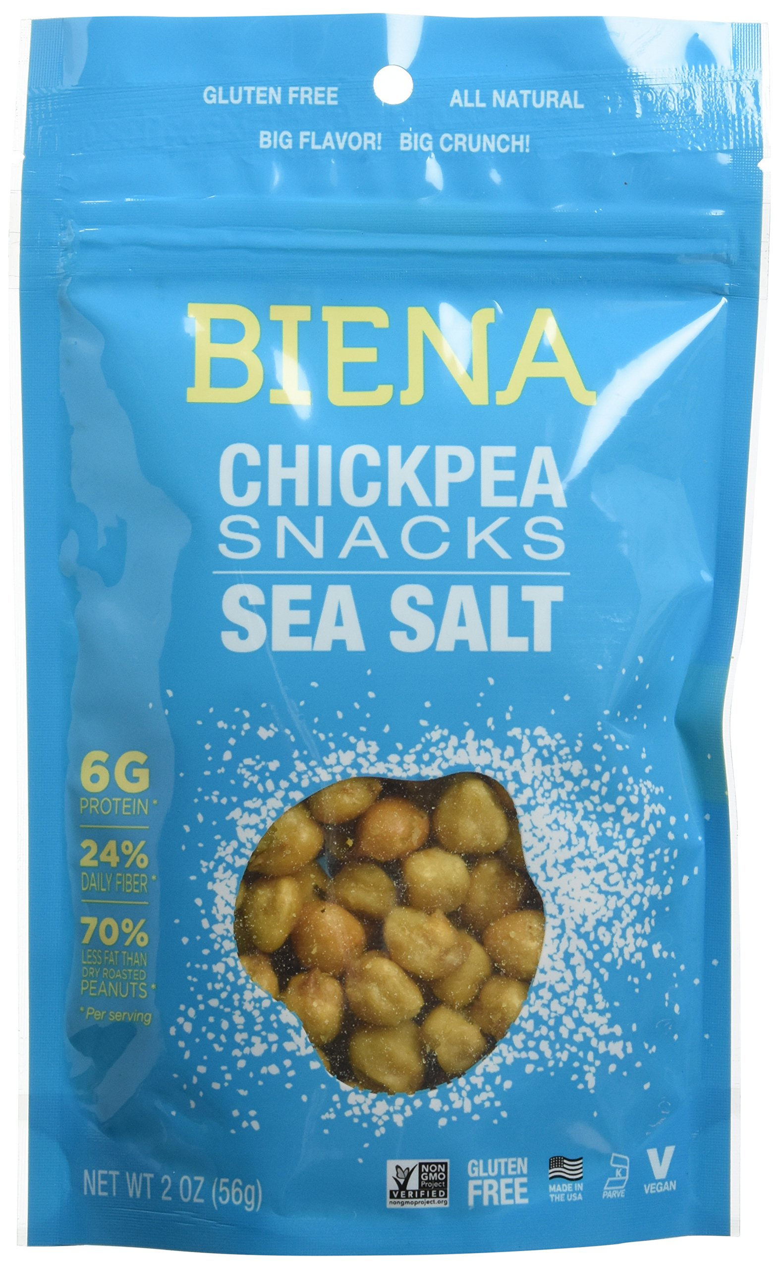 Biena All Natural Roasted Chickpeas Snacks Case of 12 - 2 oz bags (Sea Salt) by Biena