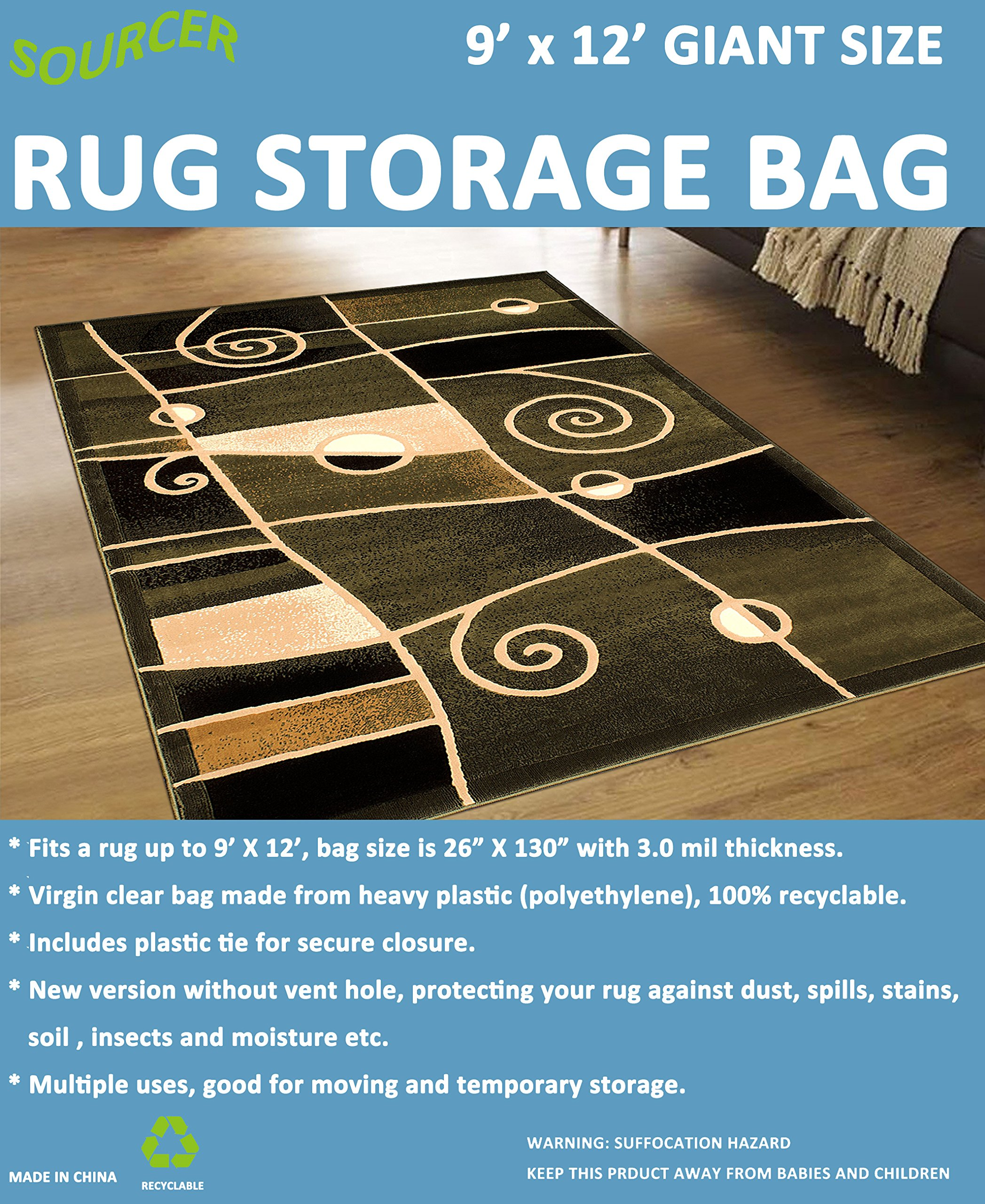 Rug Bag for Moving and Storage, SOURCER No Vent Hole against Dust, Moisture, Bugs, Water and Dirt. 9' x 12'