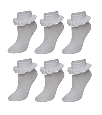 51777aa693bdc 6 Pairs Of Girls Lace Socks, Children's Frilly White Ankle School Socks-  White,