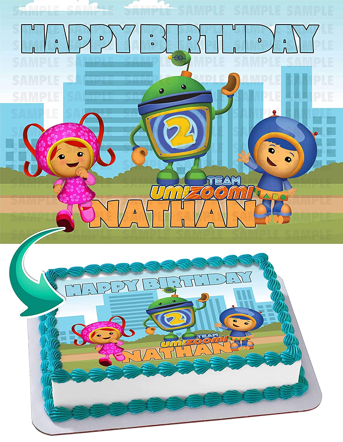 Team Umizoomi Birthday Cake Personalized Toppers Edible Frosting Photo Icing Sugar Paper A4 Sheet 1 4 Best Quality Image For Amazon