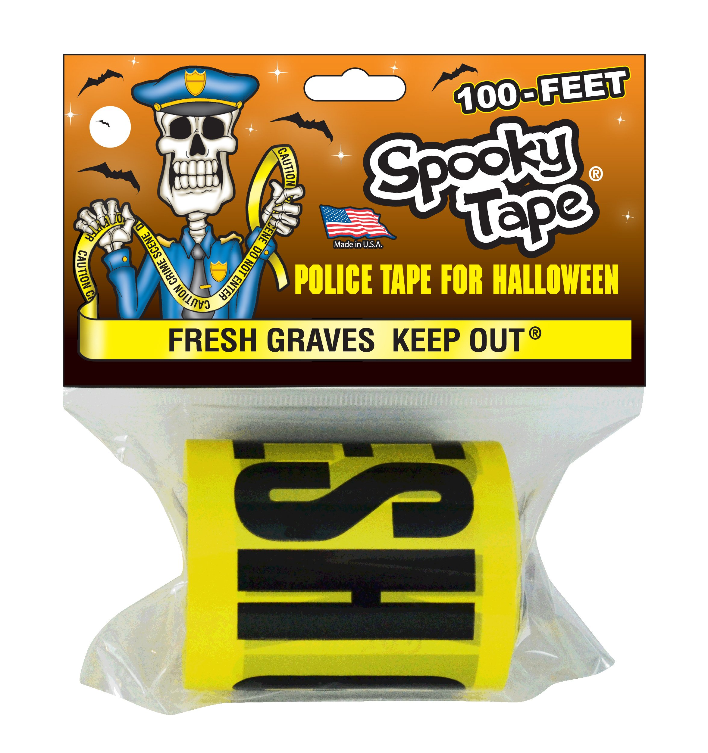 Spooky Tape - FRESH GRAVES KEEP OUT - 100 Feet!