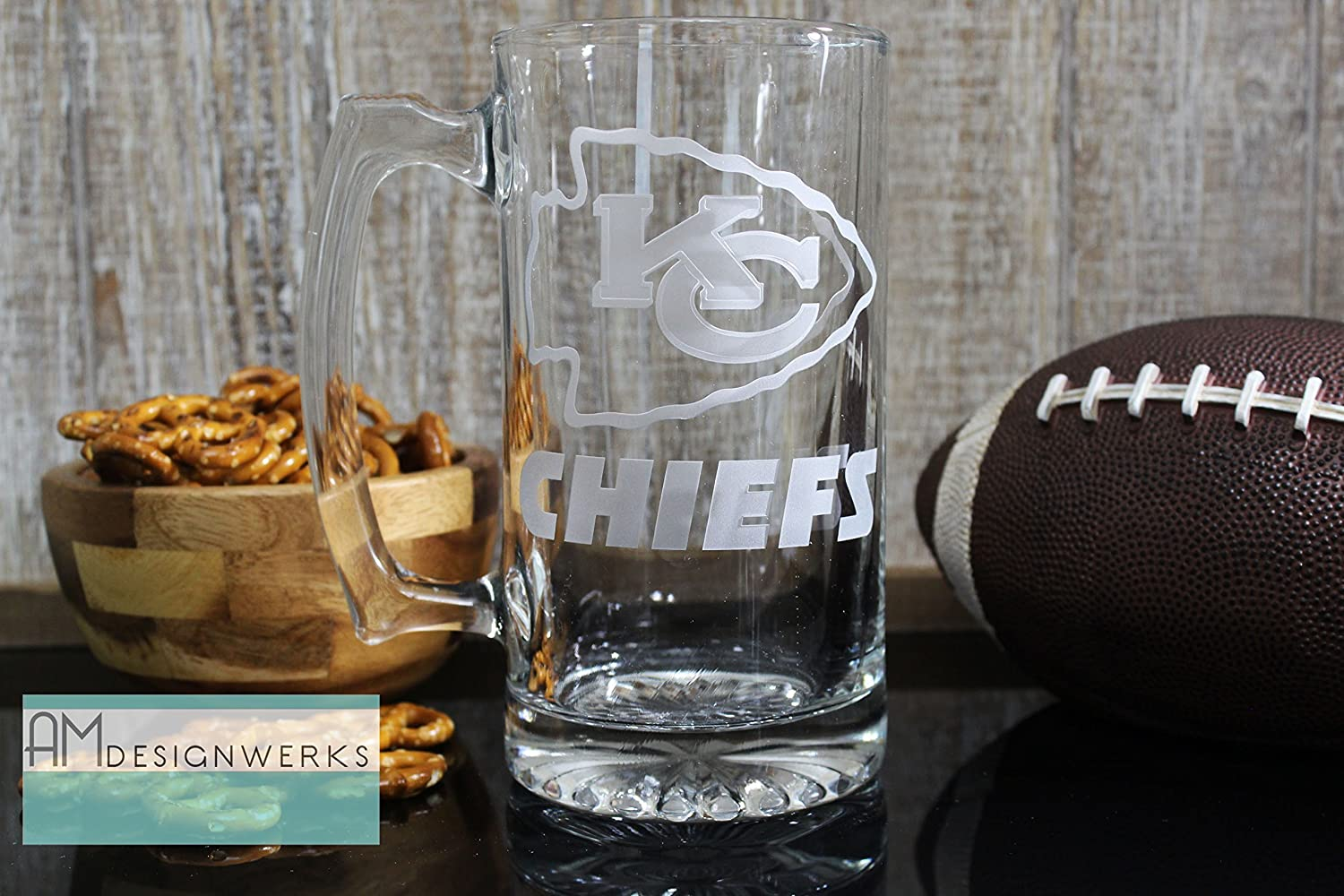 Kansas City Chiefs Jumbo 28.5oz Hand Etched Glass Beer Mug