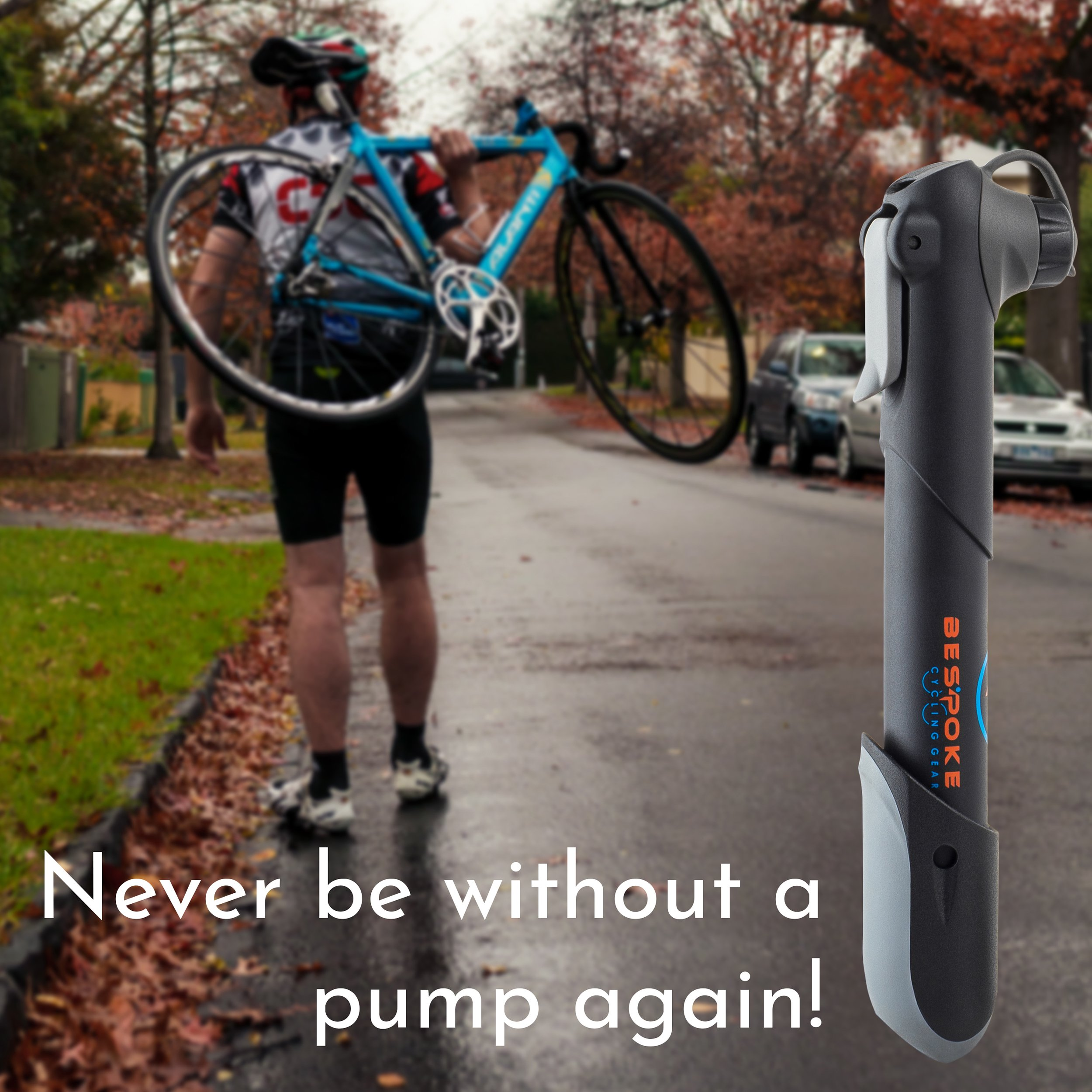 BeSpoke Cycling Gear Mini Bike Pump & tire repair kit - dual nozzle fits Presta & Schrader valves - compact & lightweight - frame-mounted bracket - pumps road, mountain, dirt & BMX bicycle tire tubes by BeSpoke Cycling Gear (Image #7)