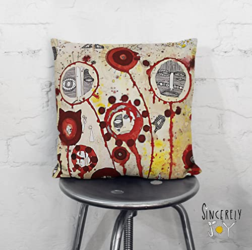 Amazon Com Red Tree People Mixed Media Art Throw Pillow Decorative Boho Art Cushion Original Funky Home Decor Accessories By Mixed Media Artist C Cambrea Handmade