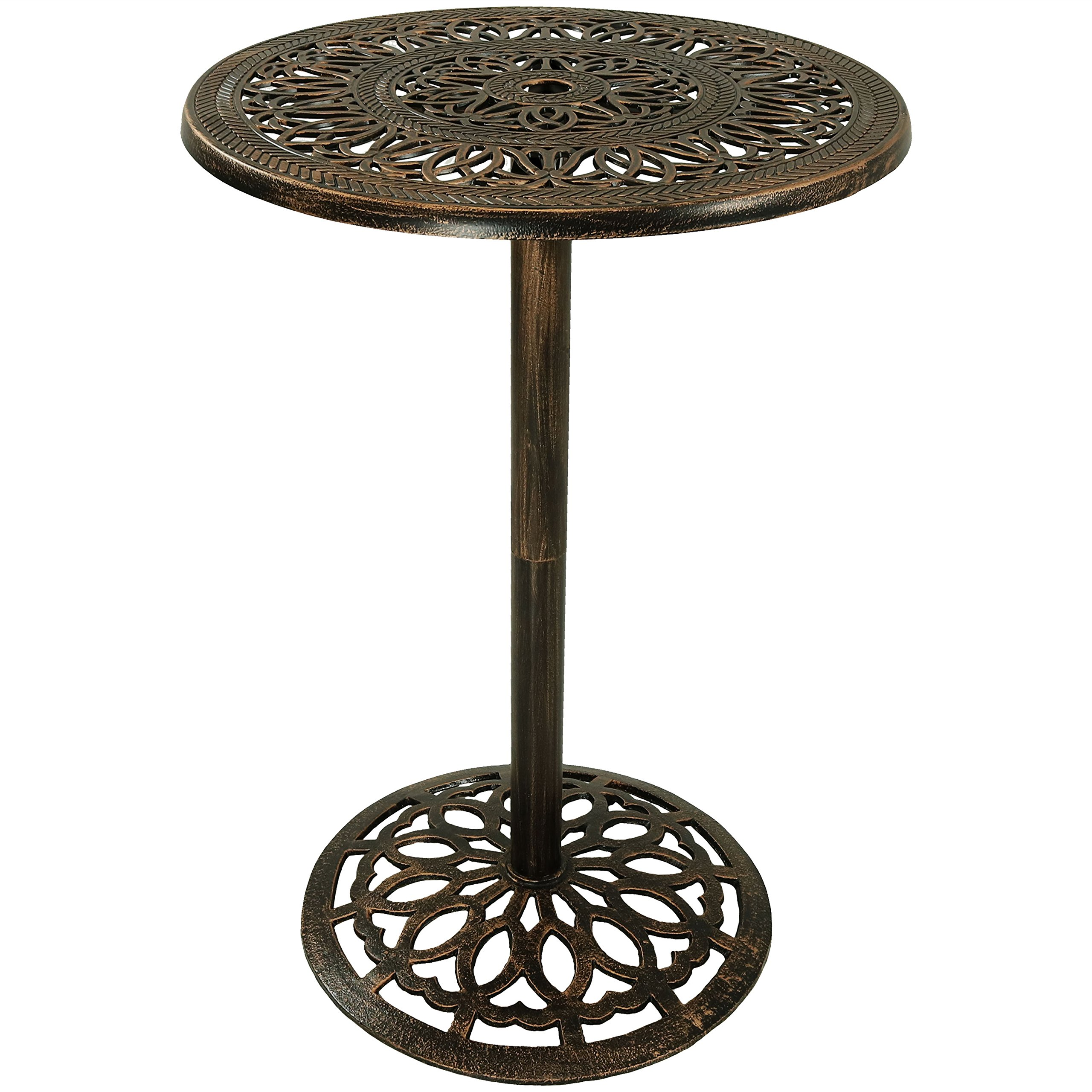 Sunnydaze Bar Height Patio Table, Outdoor Round High Top Pub Table, Durable Cast Iron, 26 Inch Diameter, 40 Inch Tall