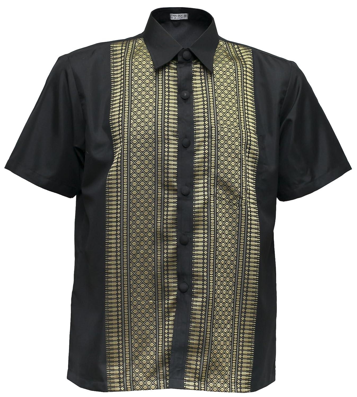 7b45ac2f1 THAI SILK Men's Short Sleeve Shirt Traditional Straight Band Collar Casual  at Amazon Men's Clothing store: