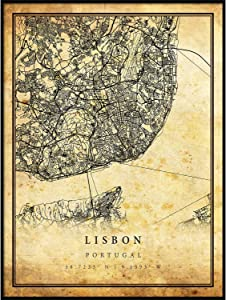 Lisbon map Vintage Style Poster Print | Old City Artwork Prints | Antique Style Home Decor | Portugal Wall Art Gift | Antique map Decor 8.5x11