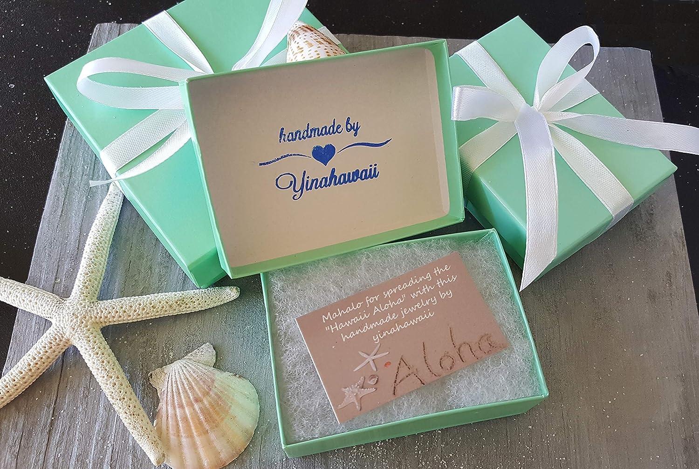 un emballage cadeau GRATUIT Bijoux faits /à la main en provenance dHawa/ï des crochets en argent sterling un message cadeau GRATUIT un cadeau hawa/ïen des boucles doreille en verre bleu oc/éan