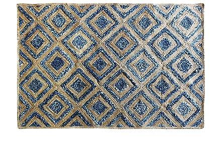 The Home Talk Natural Jute and Denim (Jeans) Hand Braided Carpet- 4x6 Feet