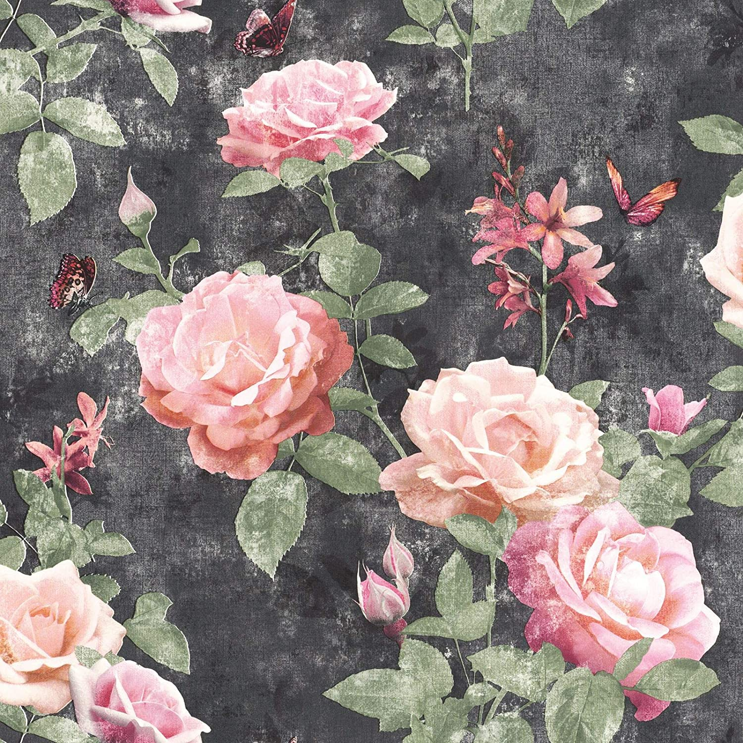 Portfolio Vintage Rose Wallpaper Pink Charcoal Rasch 215014 Amazon Co Uk Diy Tools