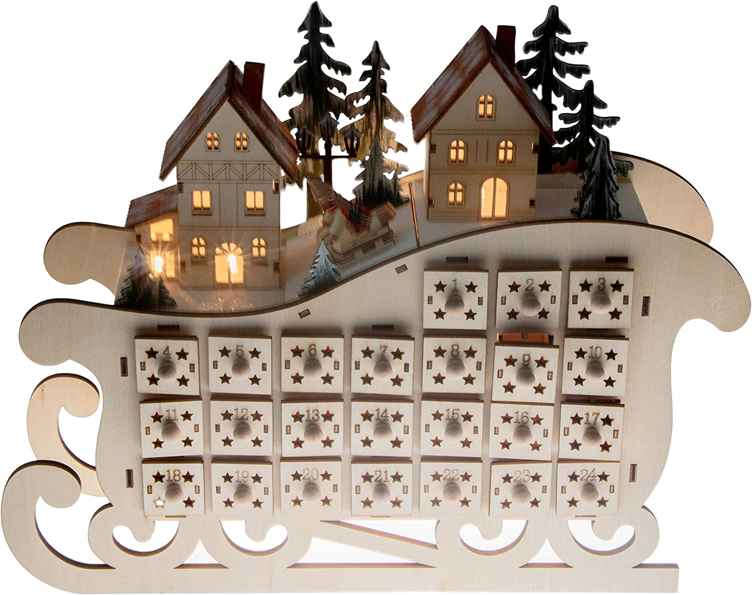 Amazon Com Clever Creations Wooden Village Sleigh Advent Calendar 24 Day Countdown To Christmas Advent Calendar Premium Christmas Decor Light Up Houses Wood Construction 11 25 Tall Toys Games