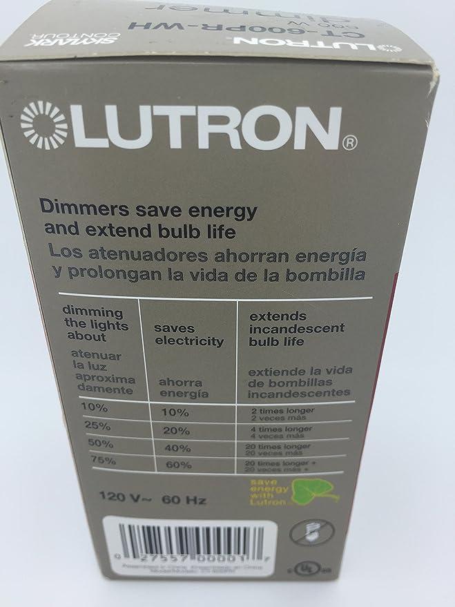Lutron CT-600PR-WH Skylark Contour 600W Single Pole Preset Dimmer - White - - Amazon.com
