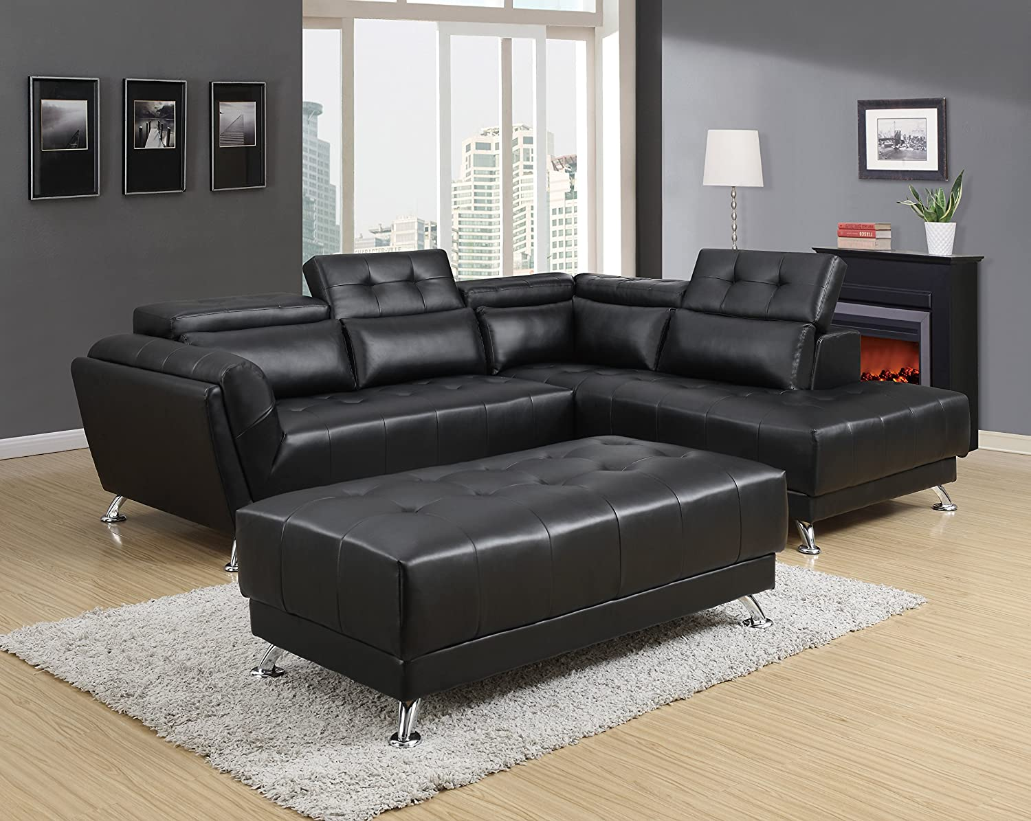 Magnificent Amazon Com Global Furniture U8859 Black Sectional Gmtry Best Dining Table And Chair Ideas Images Gmtryco