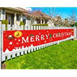 JaosWish Merry Christmas Banner Outdoor Yard Decorations, Large Red Christmas Hanging Signs for Xmas Outdoor or Indoor House