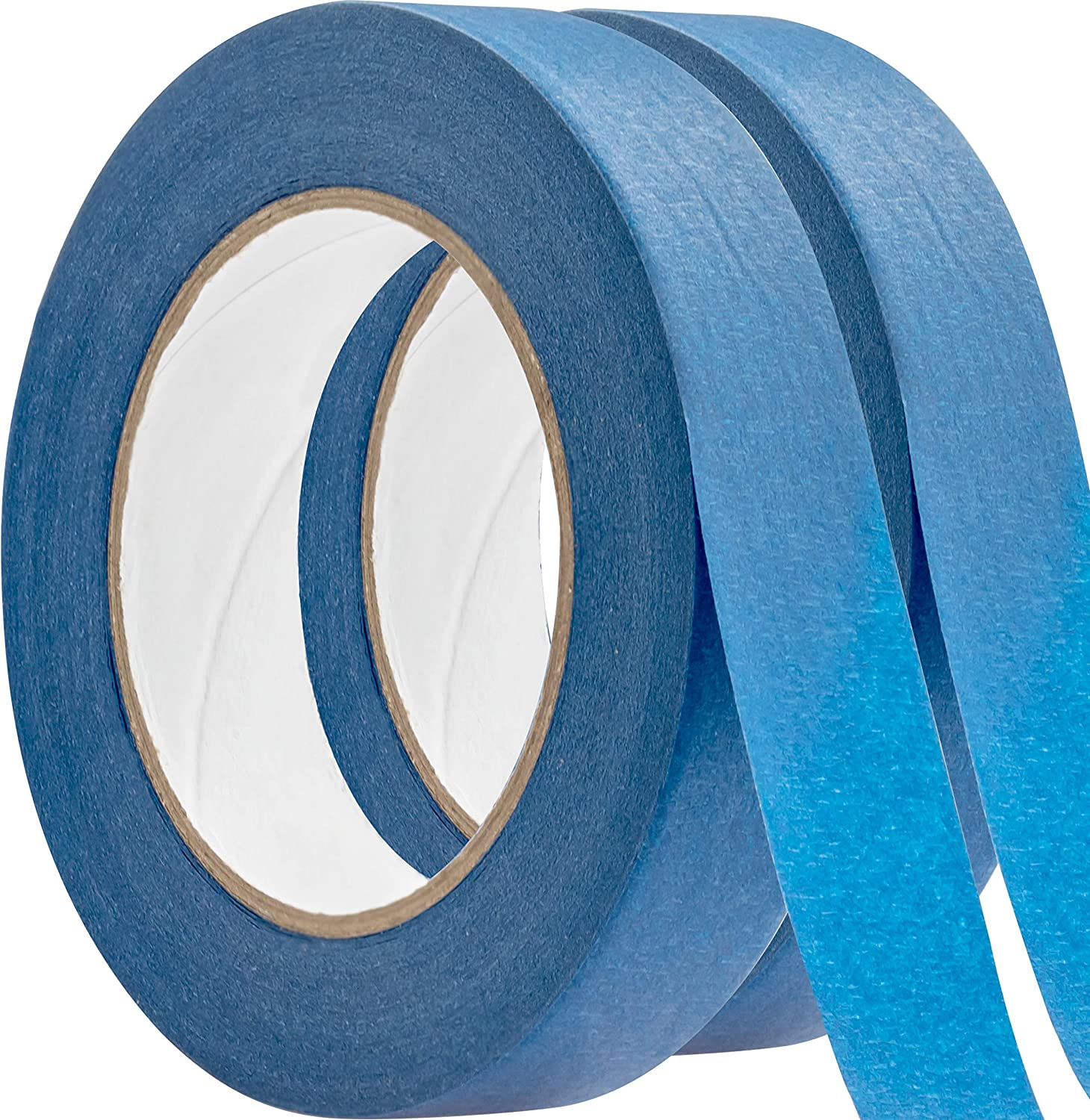 No-Residue 1 Inch, 60 Yard Blue Painters Tape 2 Pk. Easy-Tear, Pro-Grade Removable Masking Tape Great for Home, Office or Commercial Contractor. Clean, Drip-Free Painting with Wide Crepe Paper Rolls