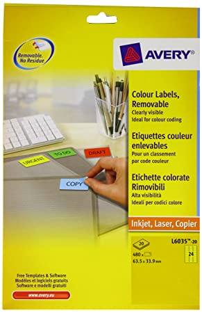 Avery L6035 20 Self Adhesive Removable Yellow Filing Labels 24