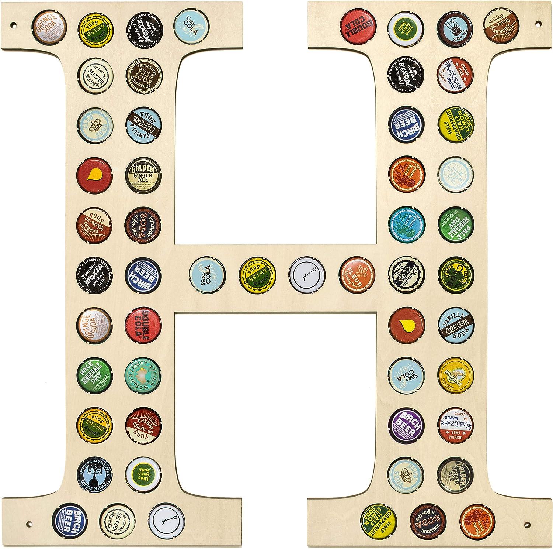 Beer Caps Holder Wall Decor Monogram Letter Letter T