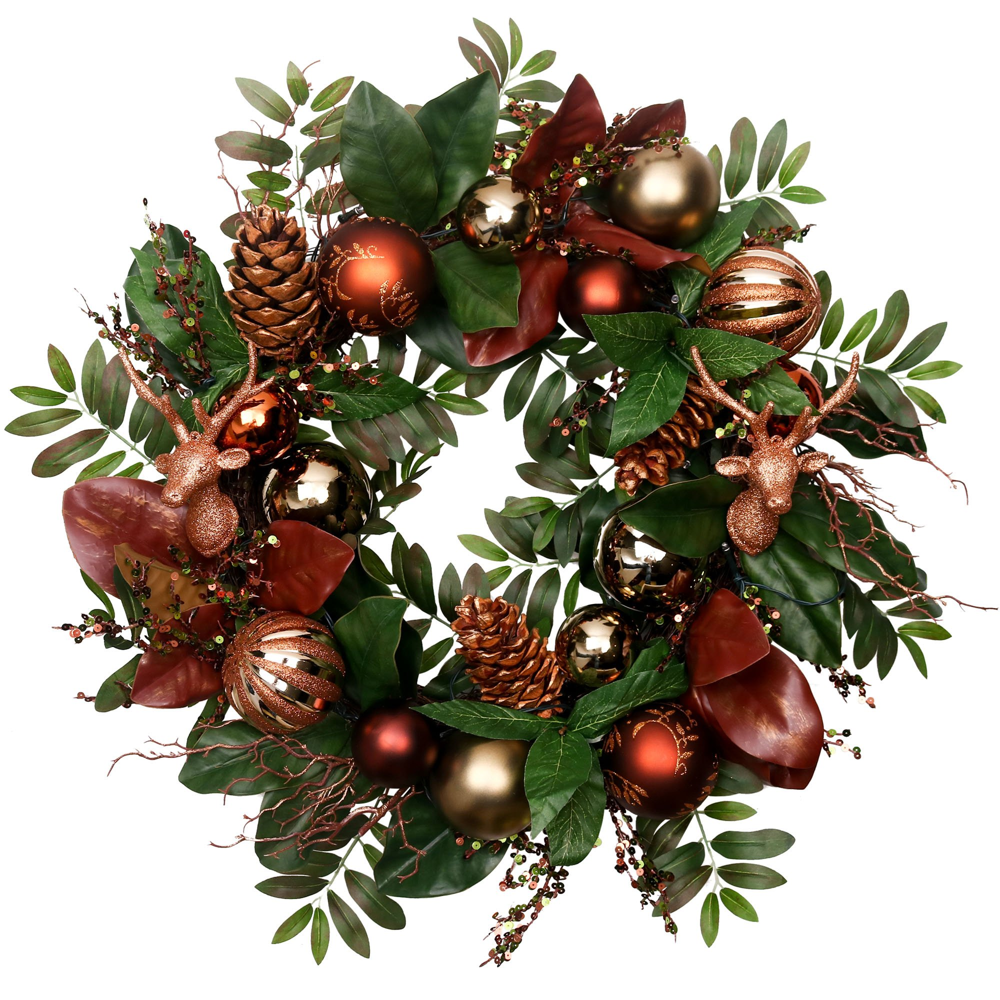 V&M VALERY MADELYN Pre-Lit 24'' Woodland Artificial Greenery Eucalypti Leaves Wreath Home Office Wall Wedding,Rattan Base, Balls Included, Battery Operated 20 LED Lights Remote Timer