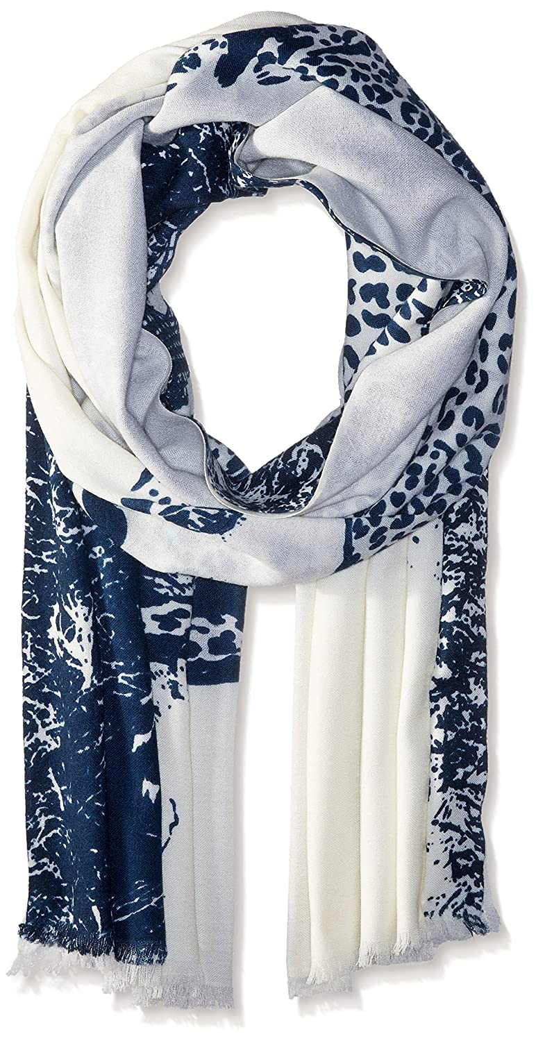 BADGLEY MISCHKA Women's Cheeta Oblong With Embroidered Eye Scarf Ivory/Navy One Size SCW-5222