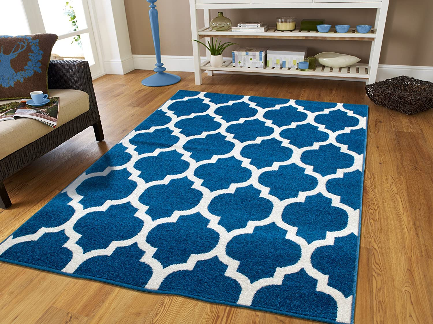 Amazon.com: New Fashion Luxury Morrocan Trellis Rugs Blue And White Rugs  With Lines Blues Rugs For Dining Room 8x10 Soft Rugs For Bedrooms Large Rugs  For ...