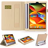 Lenovo Yoga Tab 3 Plus/Lenovo Yoga Tab 3 Pro 10 X90F YT3-X703F 10.1 Case,Premium PU Leather Folio Cover For Lenovo Yoga Tab 3 Plus 10.1/Lenovo Yoga Tab 3 Pro 10.1-Inch Tablet (Gold)