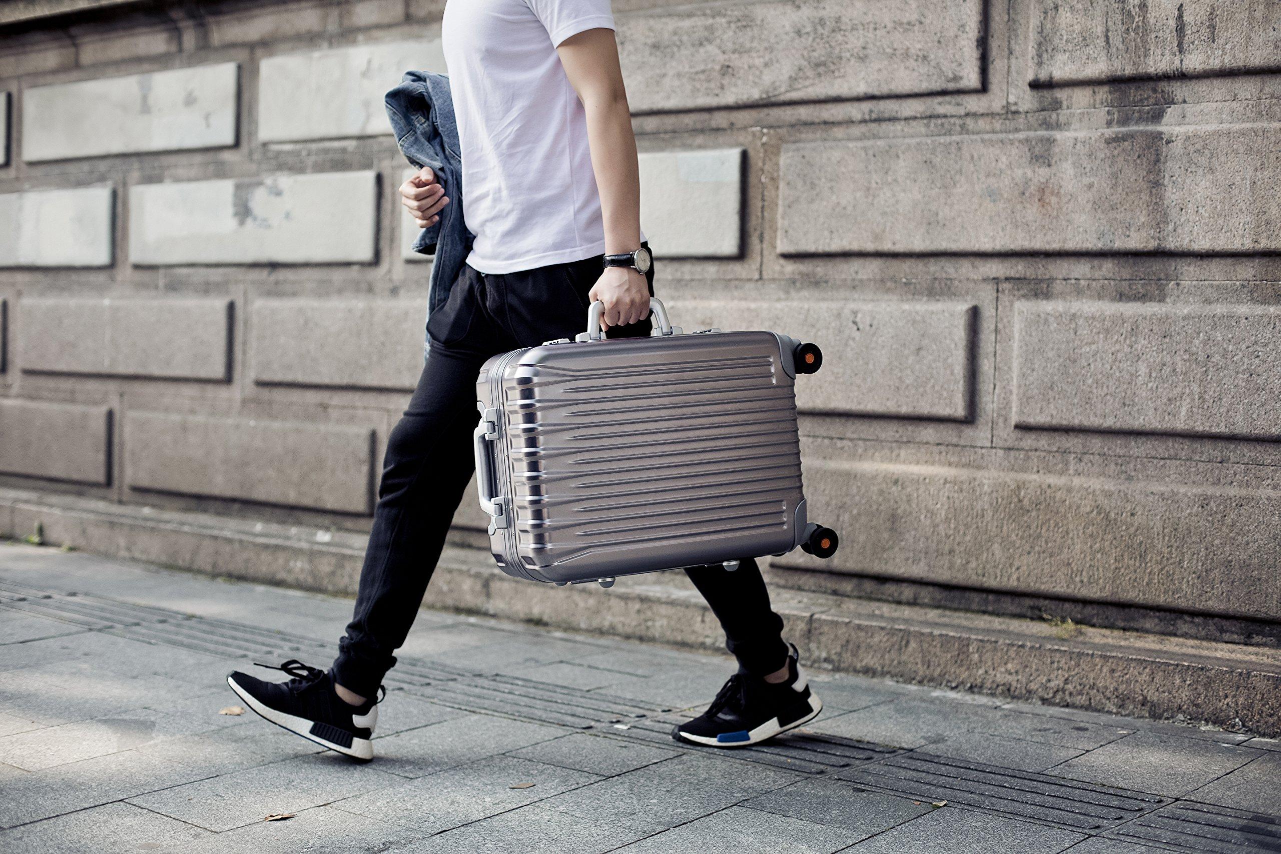 All Aluminum Luggage, HardShell Carry On Spinner Suitcase Grade 5 Aluminum-Magnesium Alloy TSA Approved 20'', Gunmetal by Clothink (Image #7)