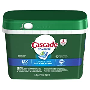 Cascade Complete ActionPacs Dishwasher Detergent, Fresh Scent, 22.5 Ounce