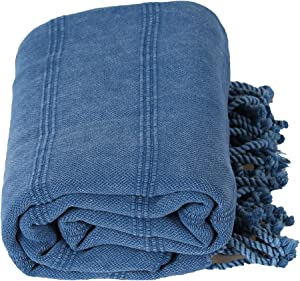InfuseZen Stonewashed Turkish Towel, Thin and Absorbent Bath Towel, Beach Towel and Pool Towel, Large Cotton Stone Washed Peshtemal Towels Weaved in Turkey, Hammam Spa Towels (Blue)