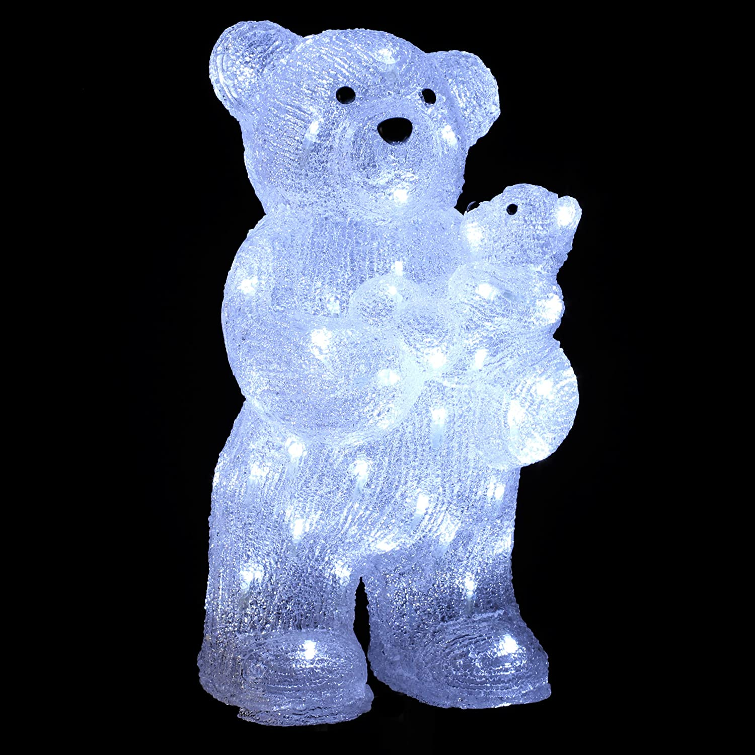 ours lumineux noel DECO NOEL   OURS et OURSON lumineux   effet givré   56 lampes LED  ours lumineux noel