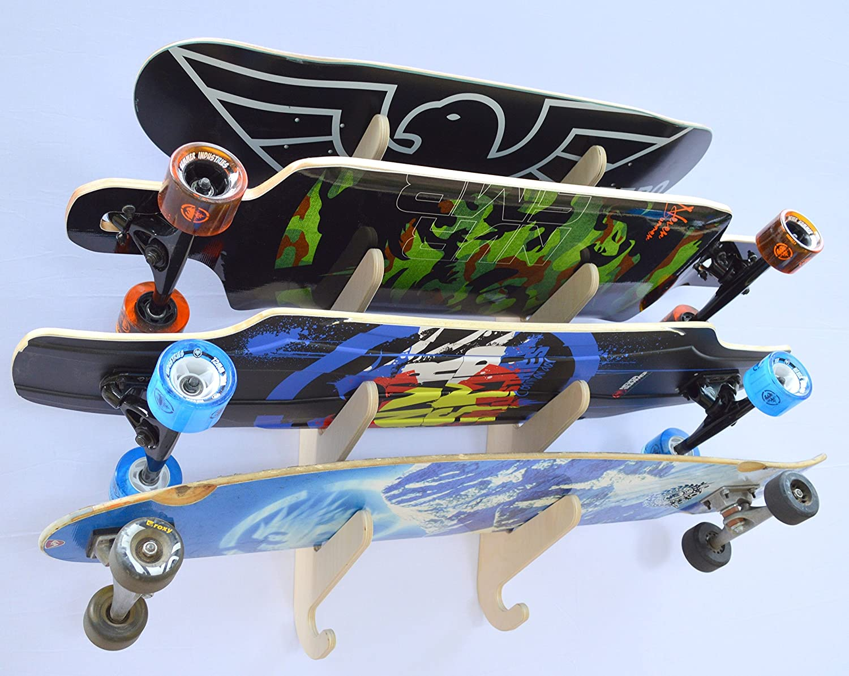 amazoncom longboard skateboard hanging wall rack holds 4 boards sports u0026 outdoors
