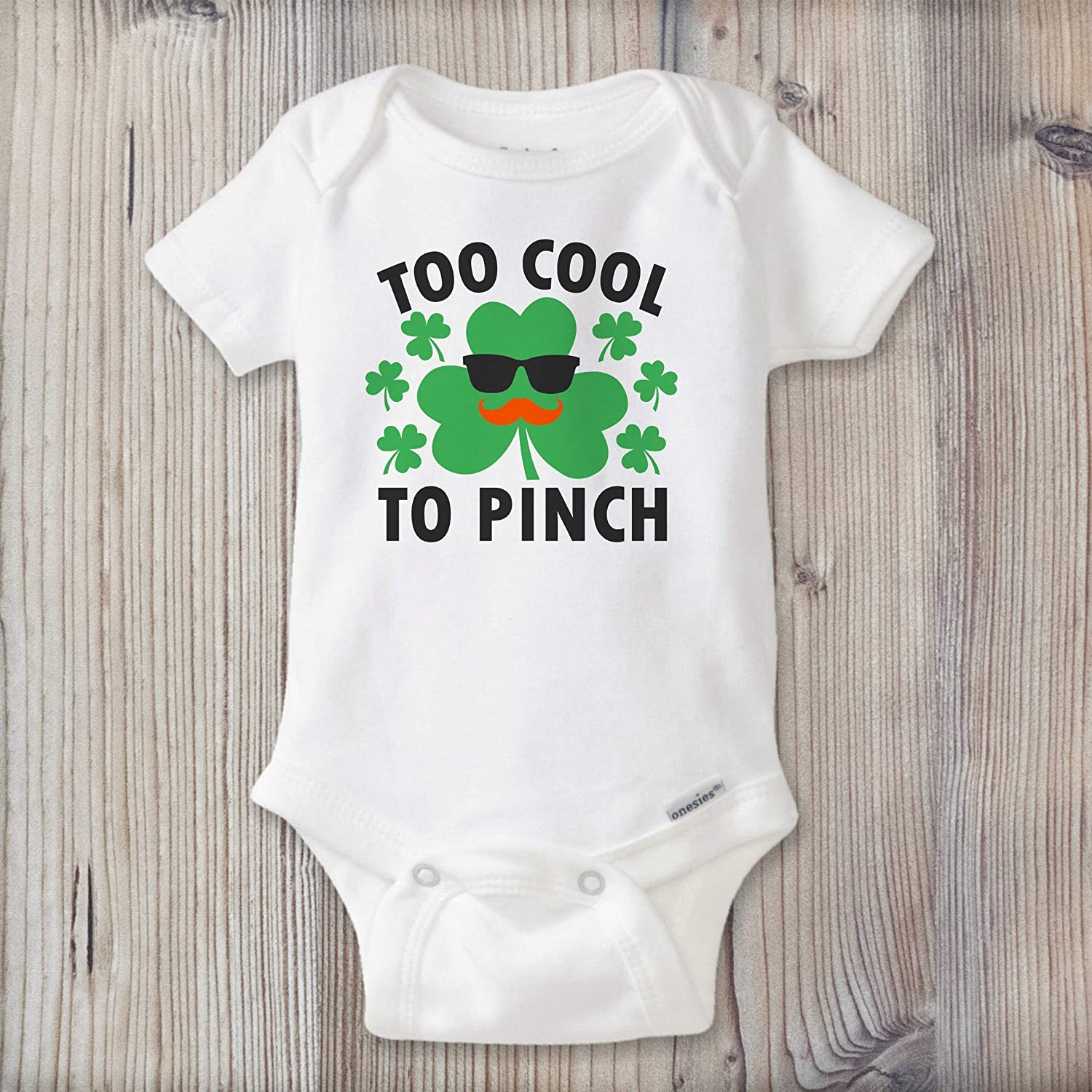 701fbddc6 Amazon.com: St. Patricks Baby Onesie® or Toddler T-Shirt | Irish Baby  Bodysuit | Unisex Baby Clothes | St. Patty's Day Outfit | Too Cool To  Pinch: Handmade