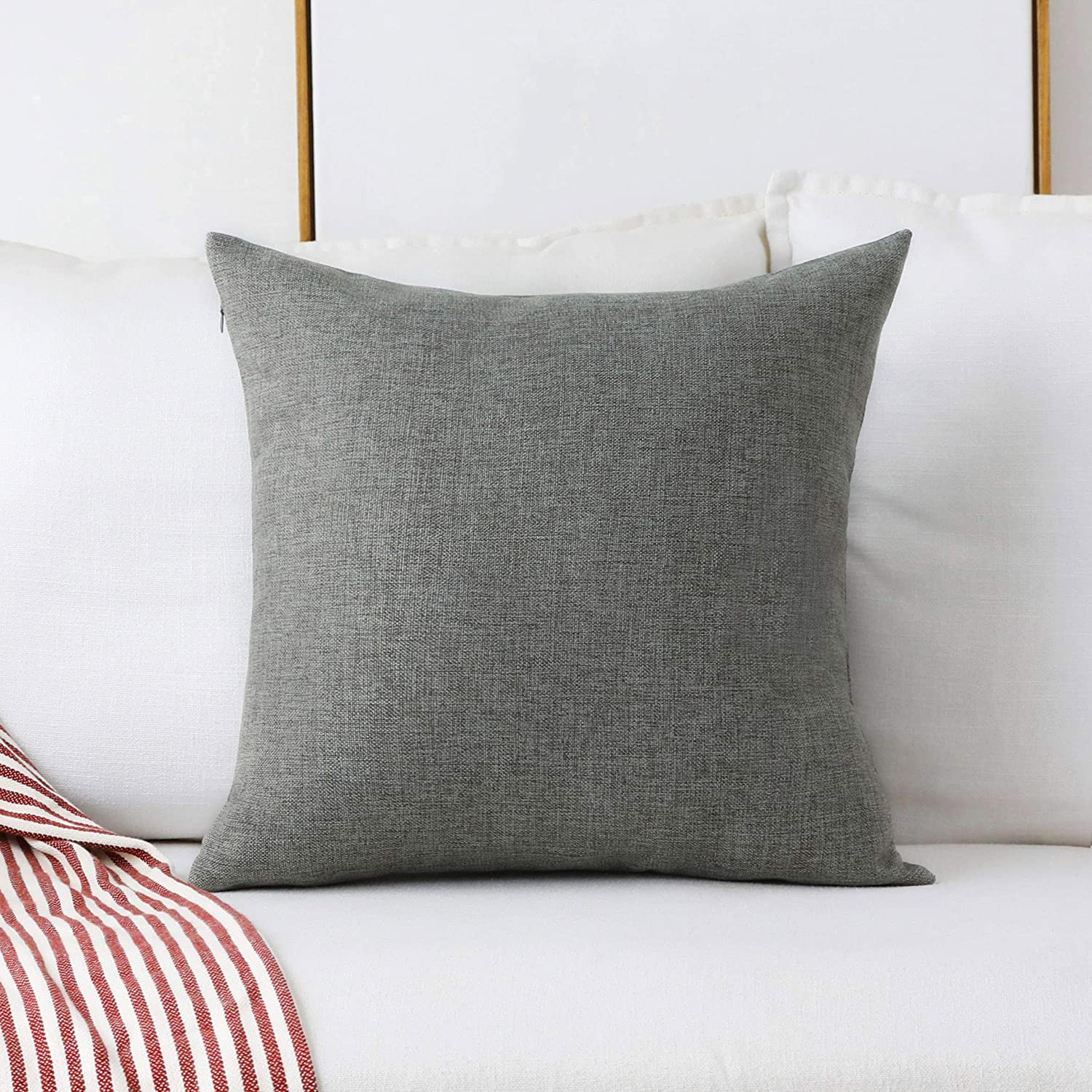 Home Brilliant Linen Large Fall Throw Pillow Cover Euro Sham Cushion Cover for Bench Bed Sofa, 26 x 26 inch(66cm), Dark Grey