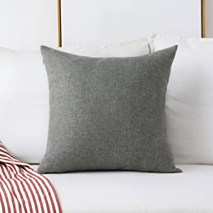 Home Brilliant Textured Linen Euro Sham Throw Pillow Cover Cushion Covers for Couch Bench Sofa, 20x20(50cm), Dark Grey