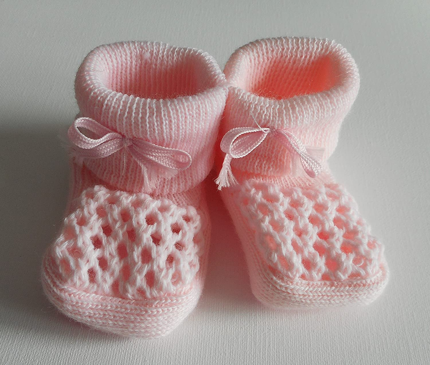Babies Knitted Booties Baby Newborn Bootees White Pink Cream or Blue ANGEL KIDS