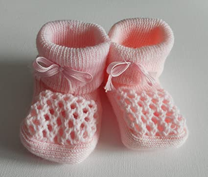4bcff13037dc2 Babies Knitted Booties Baby Newborn Bootees White Pink Cream or Blue ...
