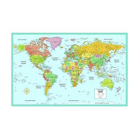 Amazon Com Rand Mcnally S M Series Laminated World Wall Map 50 X