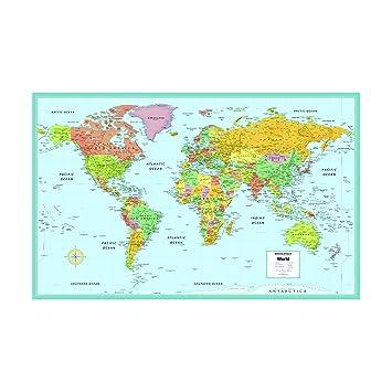 Amazoncom Rand McNallys M Series Laminated World Wall Map - Full world map